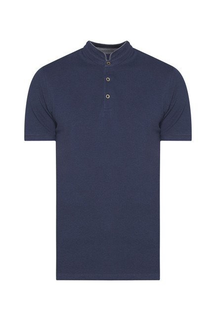 Ascot Navy Solid T-Shirt