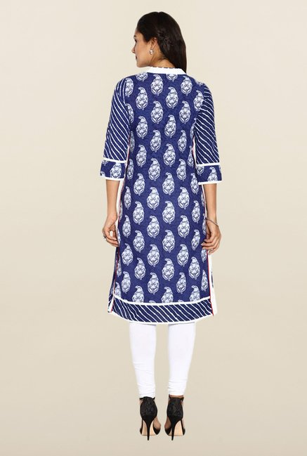 Soch Royal Blue & White Cotton Kurti