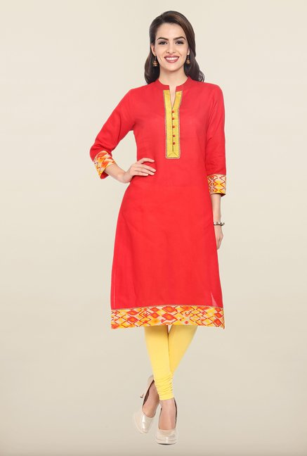 Soch Red Solid Cotton Kurta