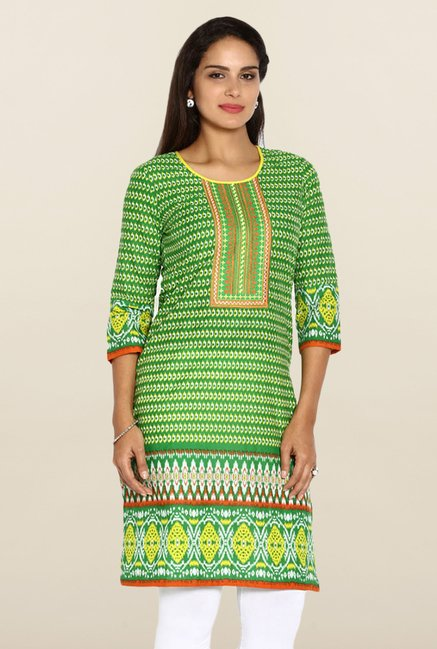 Soch Green & Yellow cotton Kurti