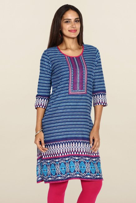 Soch Royal Blue Printed Kurti
