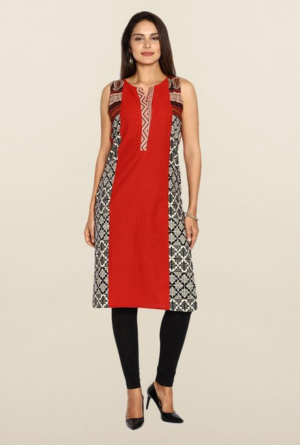 Soch Red Printed Kurta
