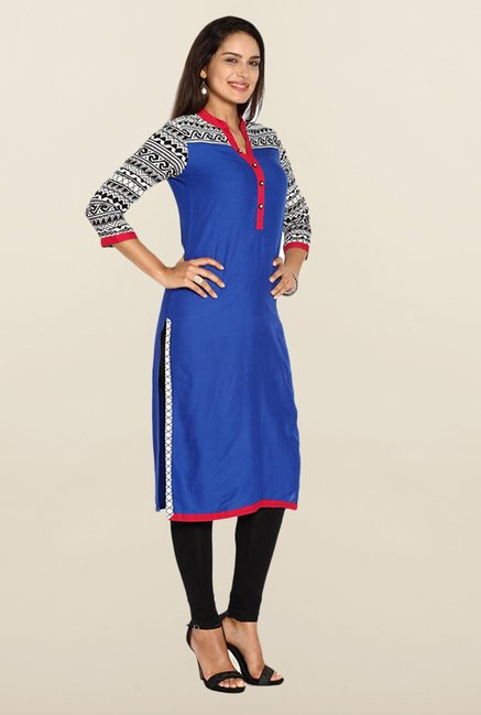 Soch Royal Blue Solid Kurta