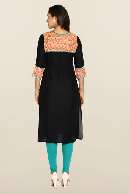 Soch Black & Orange Solid Kurta