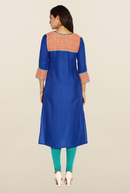 Soch Royal Blue Solid Regular Fit Kurta