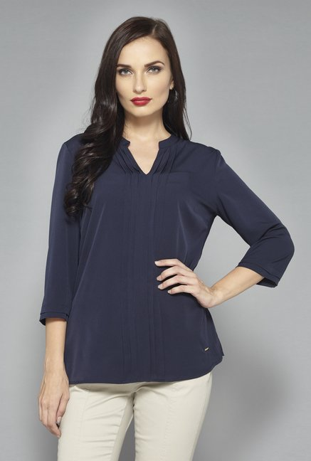 Wardrobe Navy Solid Blouse