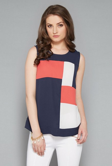 Wardrobe Navy Solid Top
