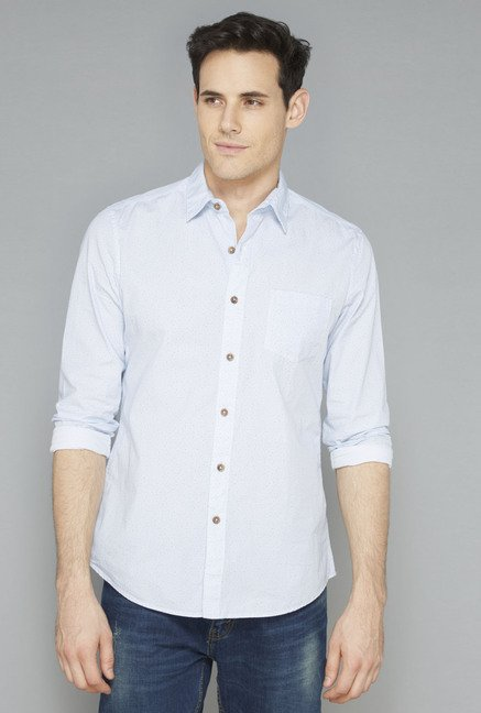 Westsport Mens Blue Printed Slim Fit Casual Shirt