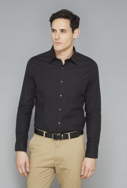 Ascot Black Slim Fit Casual Shirt