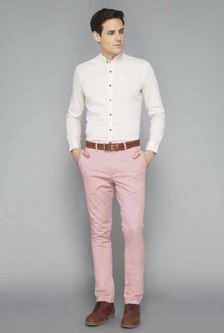 Ascot Beige Solid Cotton Casual Shirt