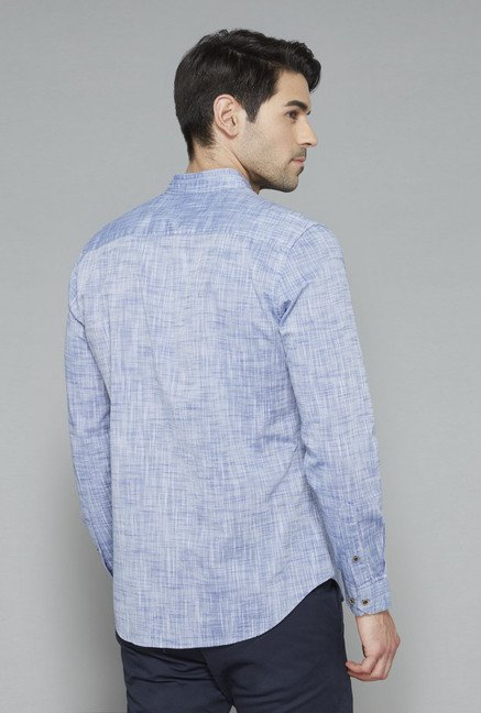 Ascot Blue Cotton Slim Fit Casual Shirt