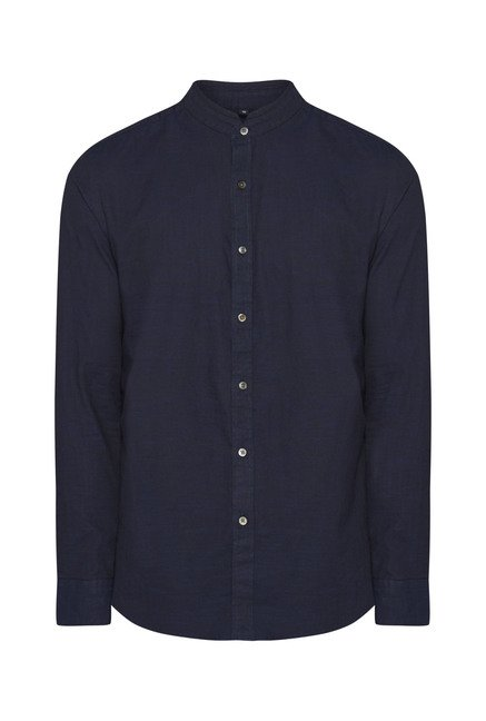 Ascot Navy Solid Slim Fit Casual Shirt
