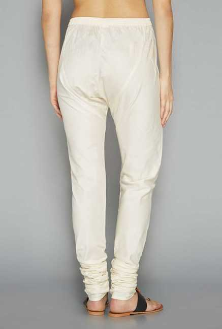 Utsa Off-White Solid Churidar