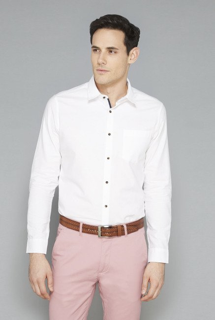 Ascot White Solid Cotton Casual Shirt