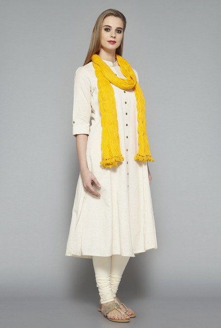 Utsa Yellow Crushed Dupatta