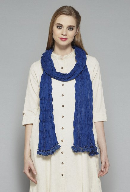 Utsa Royal Blue Crushed Dupatta