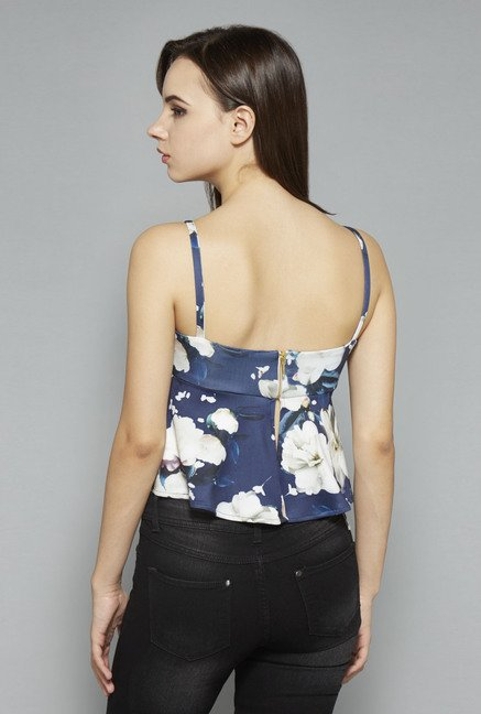 Nuon by Westside Navy Floral Print Crop Top