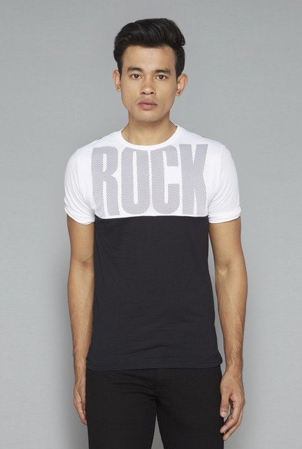 Nuon by Westside Black & White Printed T-Shirt