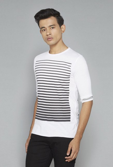 Nuon by Westside White Striped T-Shirt