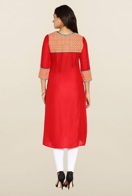 Soch Red & Orange Solid Kurta
