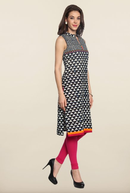 Soch Beige & Black Printed Cotton Kurti