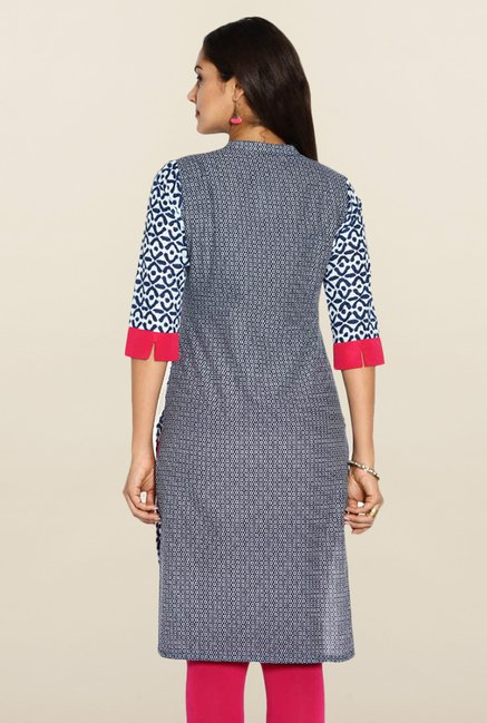 Soch Royal Blue & White Printed Kurti