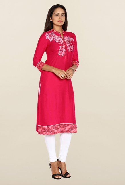 Soch Dark Pink Embroidered Kurta