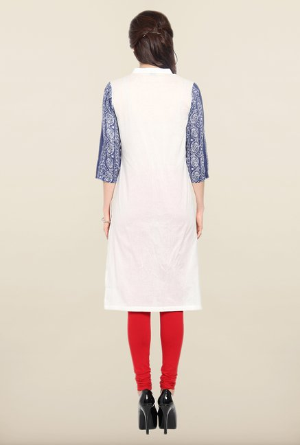 Soch White & Royal Blue Cotton Kurti