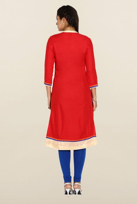 Soch Red Embroidered Kurta