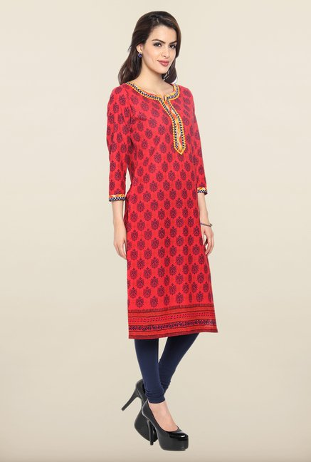 Soch Red & Navy Block Print Cotton Kurta