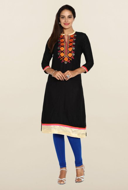 Soch Black Embroidered Kurta.