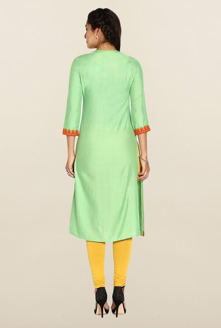 Soch Light Green Solid Cotton Kurta