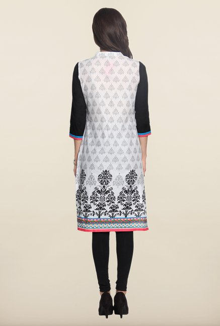 Soch White & Black Block Print Kurti