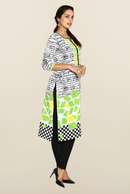 Soch White & Green Printed Kurta
