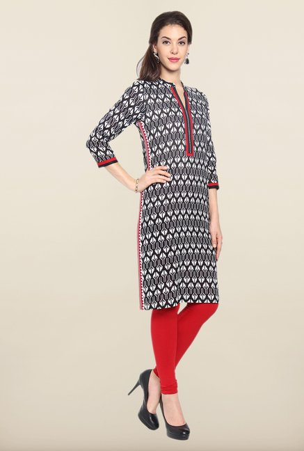 Soch Black & White Printed Cotton Kurti