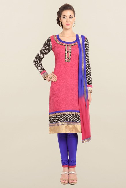 Soch Pink & Royal Blue Printed Churidar Suit Set
