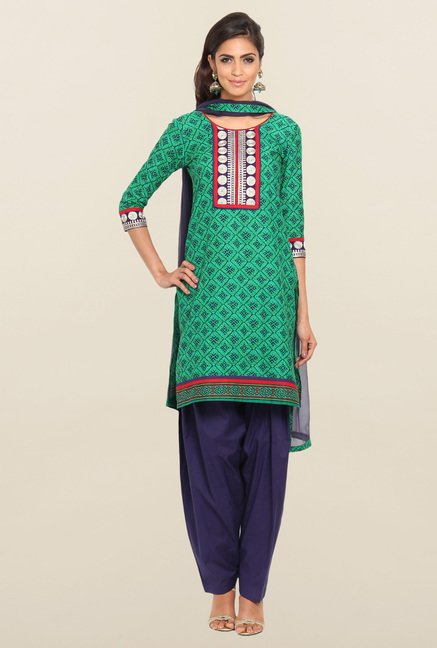 Soch Green & Navy Blue Cotton Churidar Suit Set