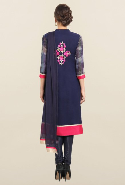 Soch Navy & Pink Georgette Churidar Suit Set