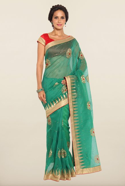 Soch Green Embroidered Kota Saree