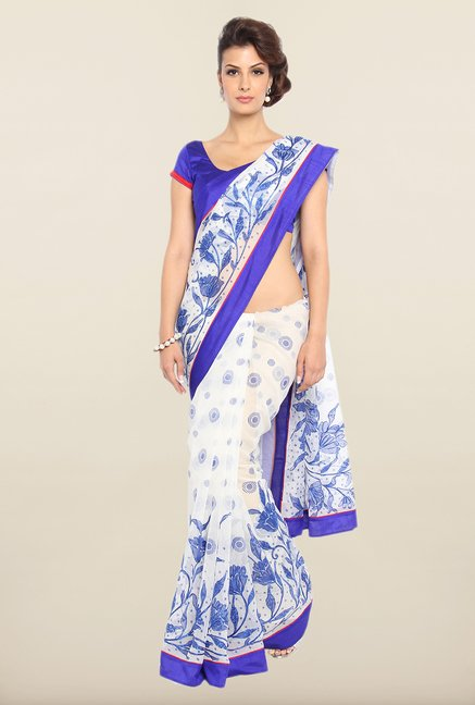 Soch Off-White & Royal Blue Kota Saree