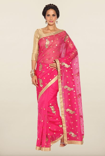 Soch Magenta & Golden Kota Saree