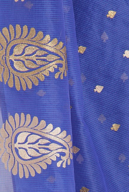 Soch Royal Blue & Golden Kota Saree