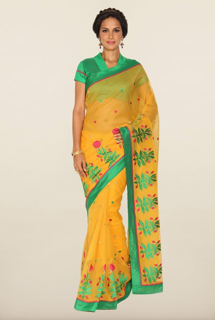 Soch Yellow & Green Kota Saree
