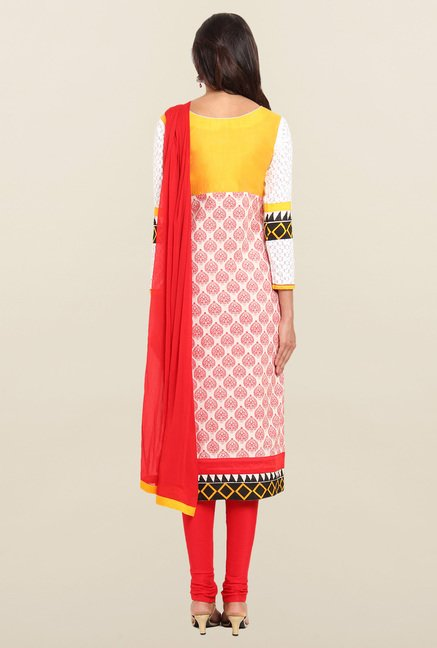 Soch Red & Yellow Block Printed Churidar Suit Set