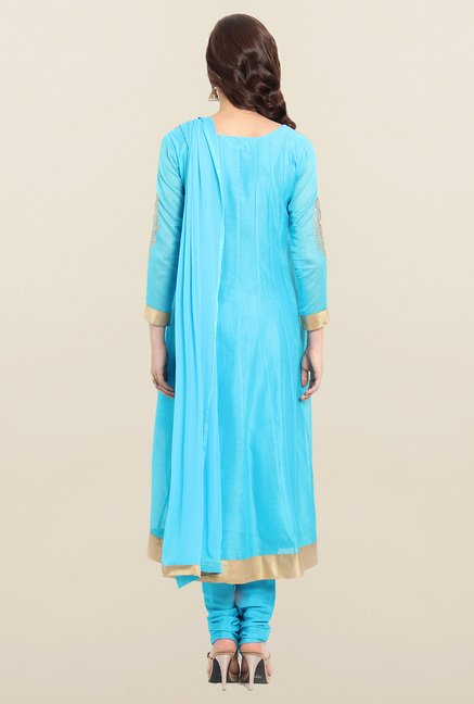 Soch Blue Chanderi Silk Anarkali Suit Set