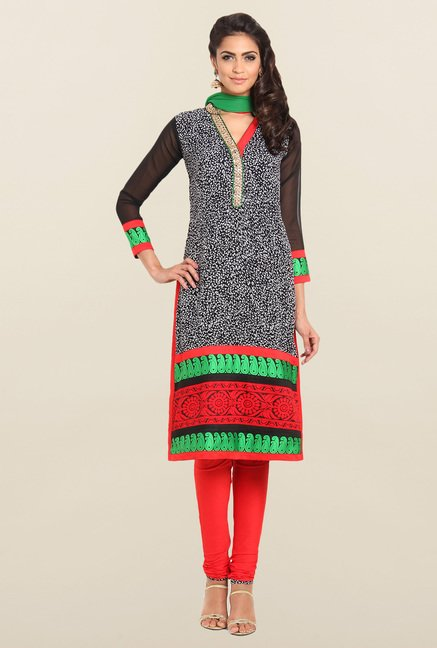 Soch Black & Red Straight Churidar Suit Set