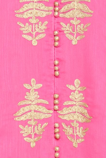 Soch Pink & Gold-Toned Churidar Suit Set
