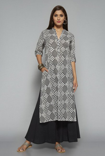 Utsa Black Cotton Long Kurta