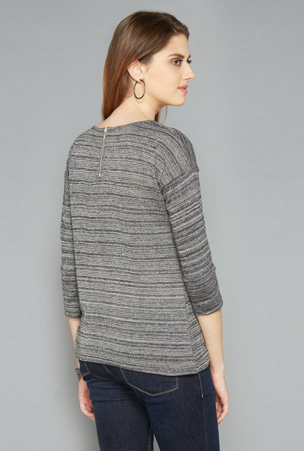 L.O.V Grey Pin Striped Top