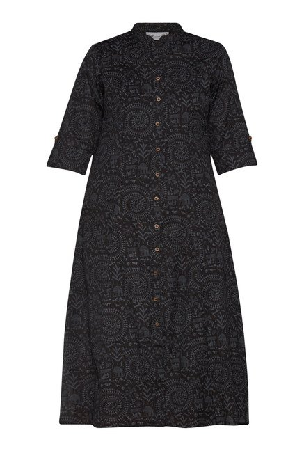 Utsa Black Printed Long Kurta